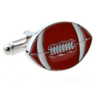 Football Cufflinks in Brown Enamel finish with Deluxe Presentation Gift Box close up image