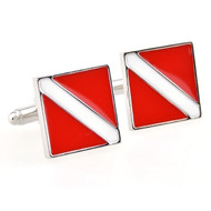 Scuba Diver Flag Cufflinks shown as a pair close up image