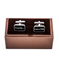 Trust Me Im A CEO Cufflinks Displayed With Deluxe Presentation Gift Box close up image