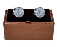 Silver Fly Fishing Reel Cufflinks with Deluxe Presentation Gift Box close up image