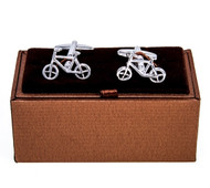 Bike Bicycle Cycling Cufflinks Displayed with Deluxe Presentation gift Box close up image