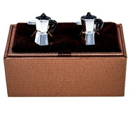 Percolator Coffee Pot Cufflinks shown as a pair with Deluxe Presentation Gift Box close up image