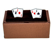 All Aces Poker Cards Cufflinks with Deluxe Presentation Gift Box close up image