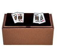 All 4 Kings Playing Cards Cufflinks displayed with Deluxe Presentation Gift Box close up image