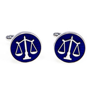 Attorney Lawyer Judge Scales of Justice Cufflinks in Blue shown as a pair close up image
