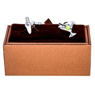 Mixed Drinks Martini and Shaker Cufflinks shown as a pair with Deluxe Presentation Gift Box close up image