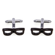 Black Hipster Eye Glasses Cufflinks shown as a pair close up image