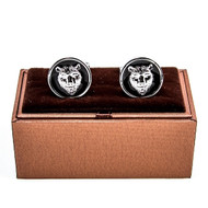 Round Black & Silver Bear head cufflinks shown as a pair displayed on deluxe presentation gift box close up image
