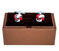 Red and White Knot Cufflinks shown as a pair displayed on presentation gift box close up image