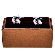 Pink and Black Knot Cufflinks shown a pair displayed on presentation gift box close up image