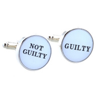 not guilty, guilty cufflinks shown as a pair close up image