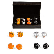 4 Pairs Basketball Hoop and Basketballs Cufflinks displayed in pairs infront Deluxe Presentation Gift Box
