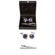 Spinning Globe Earth Cufflinks and Tie Bar Clip displayed infron of Deluxe Presentation Gift Box close up image