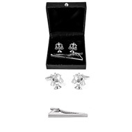 Attorney Lawyer Judge Scales of Justice Cufflinks and Tie Bar Clip gift set with deluxe presentation gift box close up image
