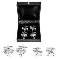 2 Pairs Elephant Cufflinks Gift Set displayed in pairs Deluxe Presentation Gift Box close up image