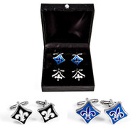 2 Pairs Black & Blue Fleur De Lys Cufflinks Gift Set displayed in pairs with Deluxe Presentation Gift Box close up image