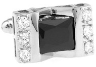 Silver Rectangle Black Crystal Cufflinks close up image