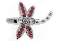 pink and clear crystal Dragonfly cufflinks close up image