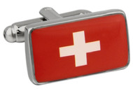 Flag of Switzerland cufflinks; Swiss Flag cufflinks close up image