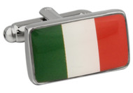Flag of Italy cufflinks; Flag of Ireland Cufflinks close up image