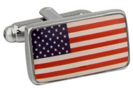 Flag of the united states cufflinks; American Flag cufflinks close up image