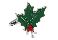 Christmas Mistletoe Holly Cufflinks close up image