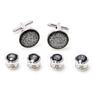 MRCUFF Black Diamond Dust Formal Set Tuxedo Cufflinks & Studs Set in a Presentation Gift Box & Polishing Cloth