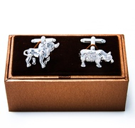 MRCUFF Bull and Bear Wall Street Pair Cufflinks in a Presentation Gift Box & Polishing Cloth