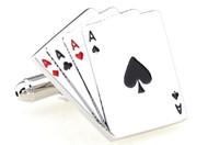 four of a kind Ace Cards cufflinks close up image