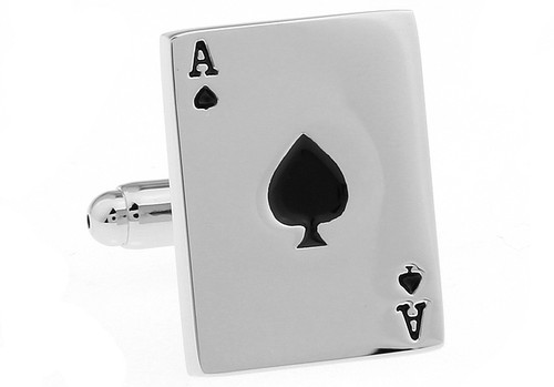 ace of spades cufflinks close up image