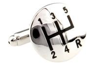 5 speed gear shifter cufflinks manual gear shifter silver cufflinks single image close-up