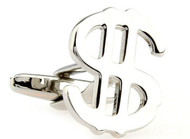 "Silver Dollar Sign ""$"" money symbol cufflinks with smooth shiny finish close up single cuff link image"
