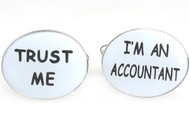 Trust Me Im An Accountant Cufflinks Oval word text close up image