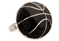 silver & black basketball cufflinks close up image