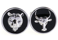 bull and bear stock market cufflinks close up image