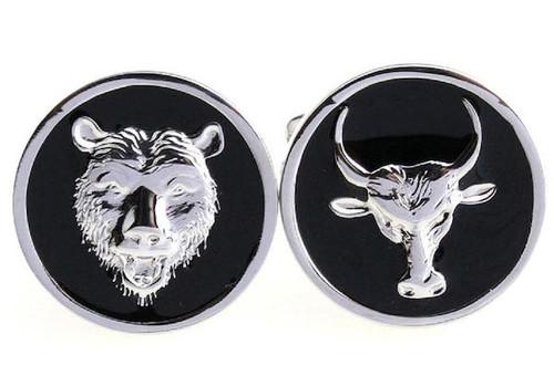 bull and bear stock market cufflinks close up image