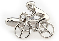 silver bicycle bike rider cufflinks close up image