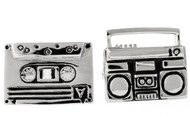 boom box and cassette mix tape cufflinks close up image