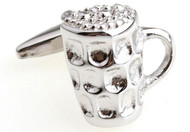 Silver beer mug cufflinks close up image