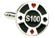 $100 Poker Chip Cufflinks close up image