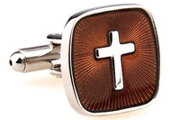 Brown square with silver cross cufflinks close up image