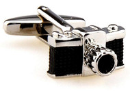 black & silver camera cufflinks close up image
