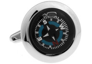 real working compass cufflinks close up image