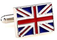 Flag of Great Britain Cufflinks; British flag cufflinks close up image