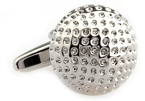 silver golf ball cuff-links close up image