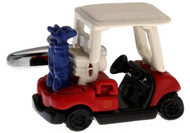 Red White and Blue Golf Cart Cufflinks close up image