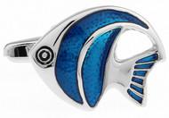 Blue Angelfish cufflinks close up image