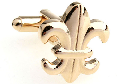 Gold Fleur De Lys cufflinks close up image