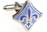 Blue Fleur de Lis cufflinks; mardi gras cufflinks close up image