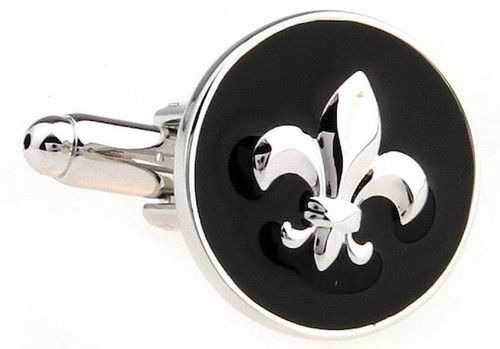Black & Silver Round Fleur De Lis Cufflinks close up image